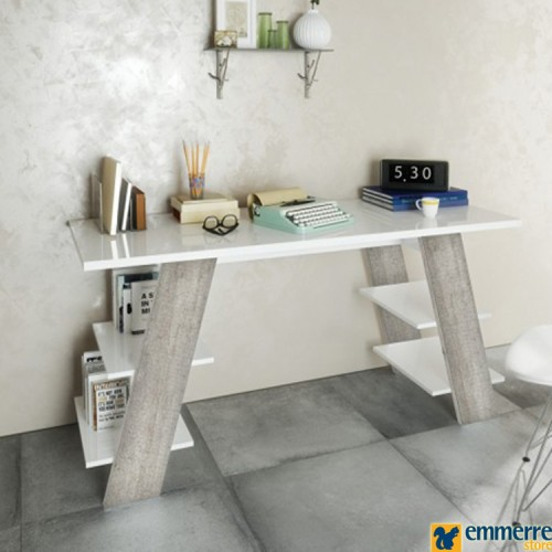 Scrivania con piano e 4 mensole in bianco lucido con gambe effetto cemento