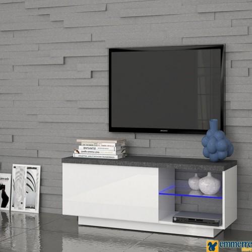 """Porta Tv con anta a ribalta + 2 scomparti a giorno con mensola in vetro Disponibile in finitura bianco lucido con piano spatolato """"report"""""""