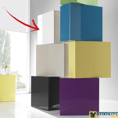 elemento cubo bianco laccato lucido disponibile in pronta consegna L.29 P.31 H.140 cm